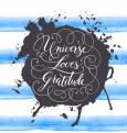 Hand-drawn calligraphy lettering on a watercolor background. Motivational, inspirational phrase Universe Loves Gratitude. Vector illustration