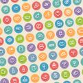 Color Tilted Seamless Pattern with Food Icons