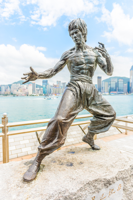 HONG KONG, CHINA - August 14: Bruce Lee statue at the Avenue of Stars on August 14, 2014, Hong Kong, China.