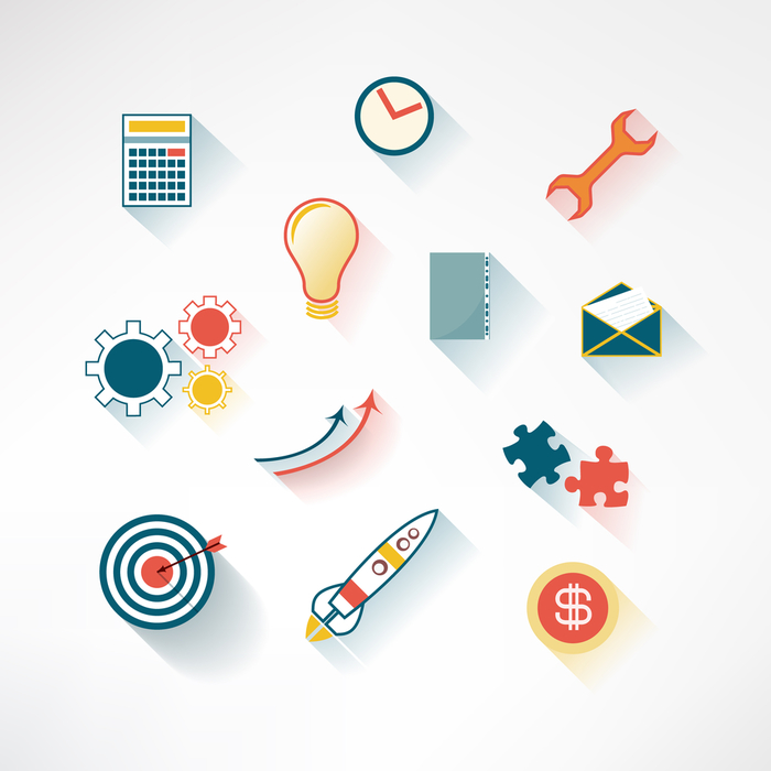 Set of colorful business icons made in modern flat design. Vector illustration