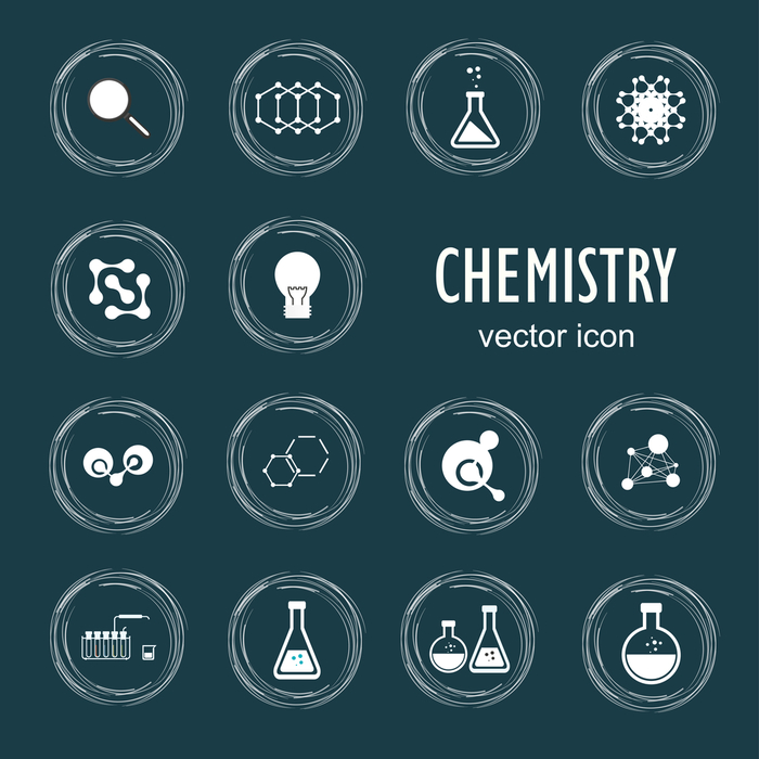 Set vetor icons in chemistry, biology, medicine
