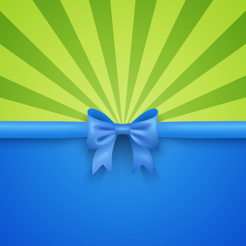 Green beam background with blue gift bow and ribbon