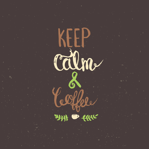 Keep calm and coffee. Modern brush calligraphy. Handwritten ink lettering. Hand drawn design elements.