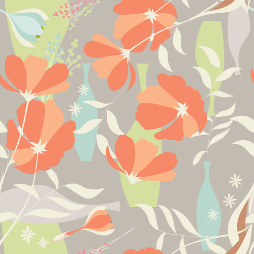 Vector seamless pattern with floral elements, spring flowers, poppies and vases