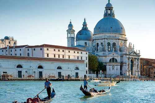 Gondoliers at Grand Canal in Venice