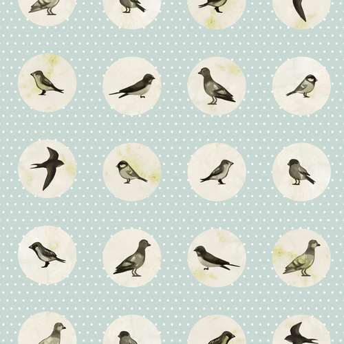 Vintage seamless pattern with cute little birds. Vector seamless texture for wallpapers, pattern fills, web page backgrounds