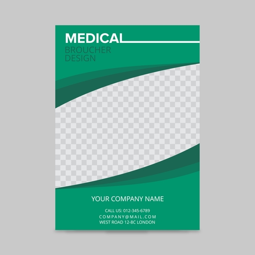 green and white curves medical flyer layout template, brochure background, leaflet with cover, vector design in a4 size for business