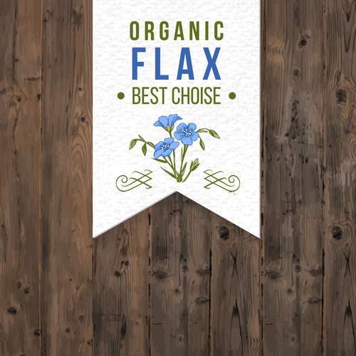 Flax label with type design