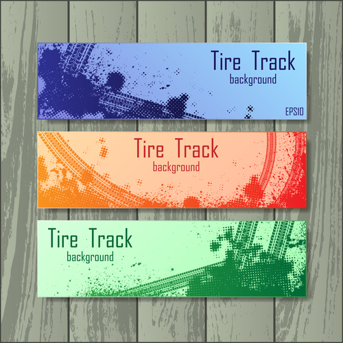 Tire tracks style banners