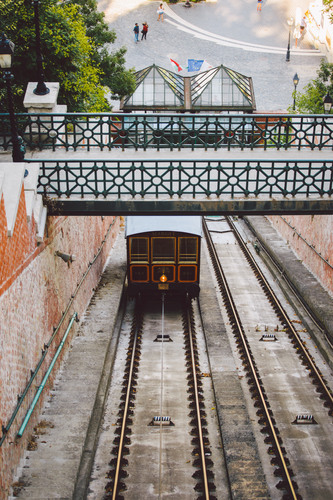BUDAPEST HUNGARY Funicular with tourists to Buda castle