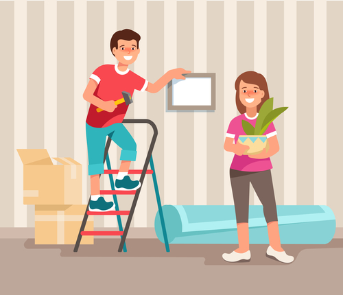 Happy young family man and woman moving to a new home. Concept design repair and construction of new housing. Vector illustration in flat style.