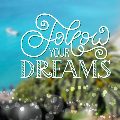 Holiday gift card with hand lettering Follow your dreams on blur