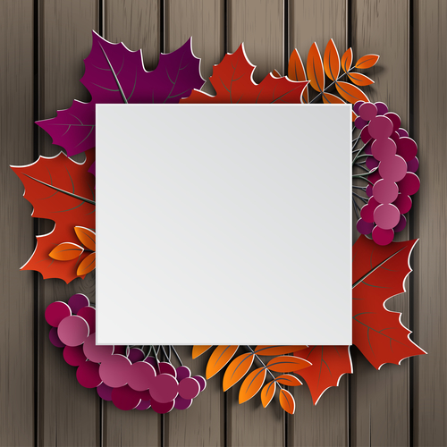 Autumn floral paper cut frame and paper colorful tree leaves on wooden background. Autumnal design for fall season sale banner, poster, flyer, web site, paper cut style