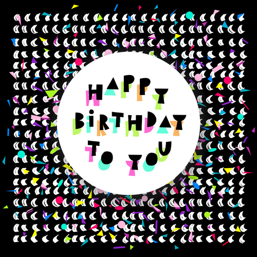 Happy Birthday card with colorful confetti on black background in vector